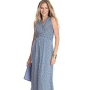 Maternity Emory Blue Knitted Jersey Maxi Dress